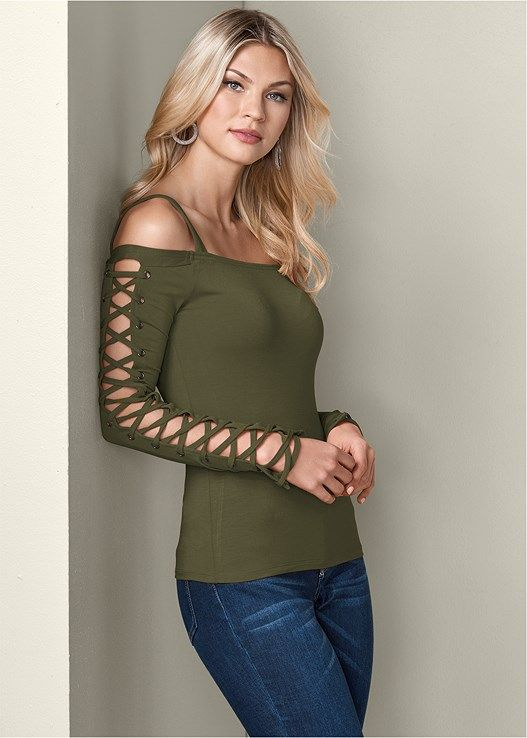 685a97718aa7ac Lace up cold shoulder top in 2018   clothes   Pinterest   Lace up, Lace and  Tops