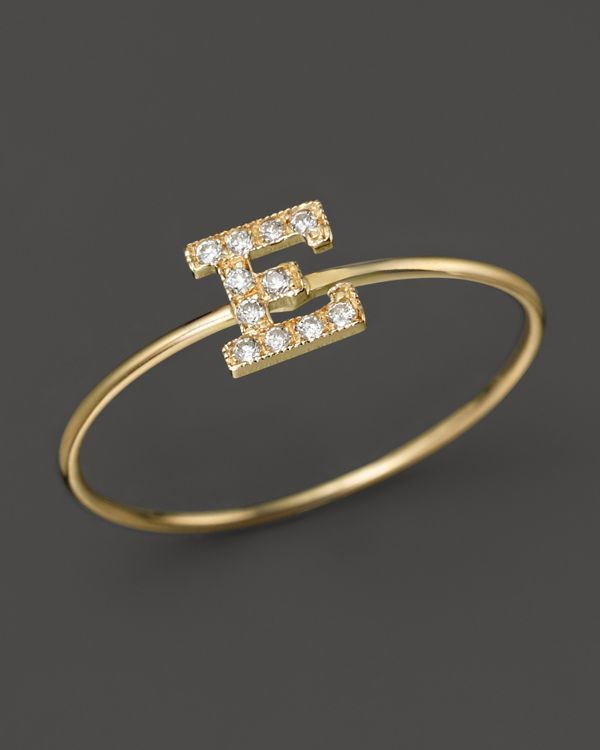 Zoë Chicco Pave Diamond Gold Initial Ring SOgeN1g