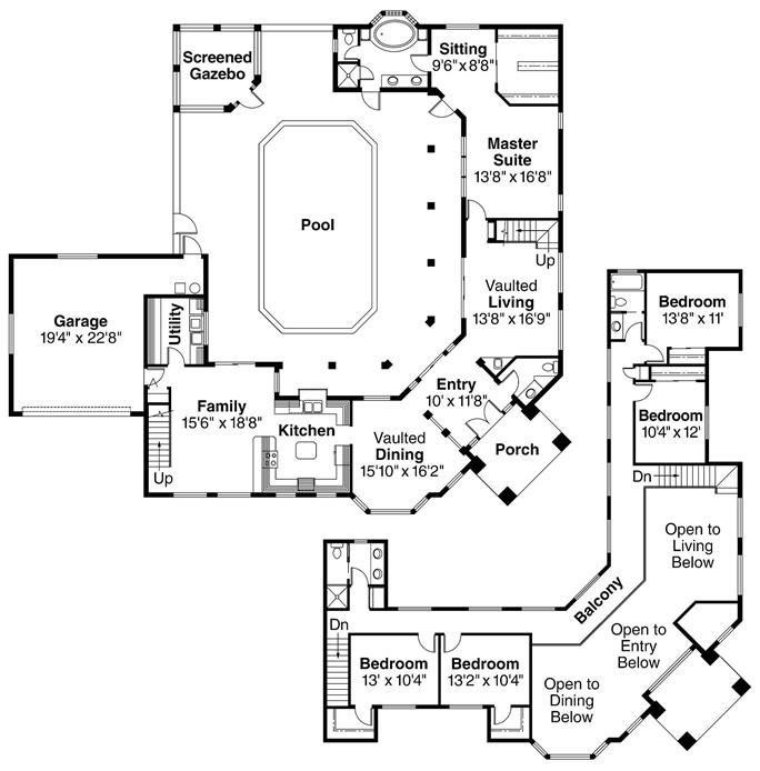 Mediterranean Home With 5 Bdrms 3327 Sq Ft Floor Plan 108 1370 Pool House Plans Indoor Pool House Courtyard House Plans