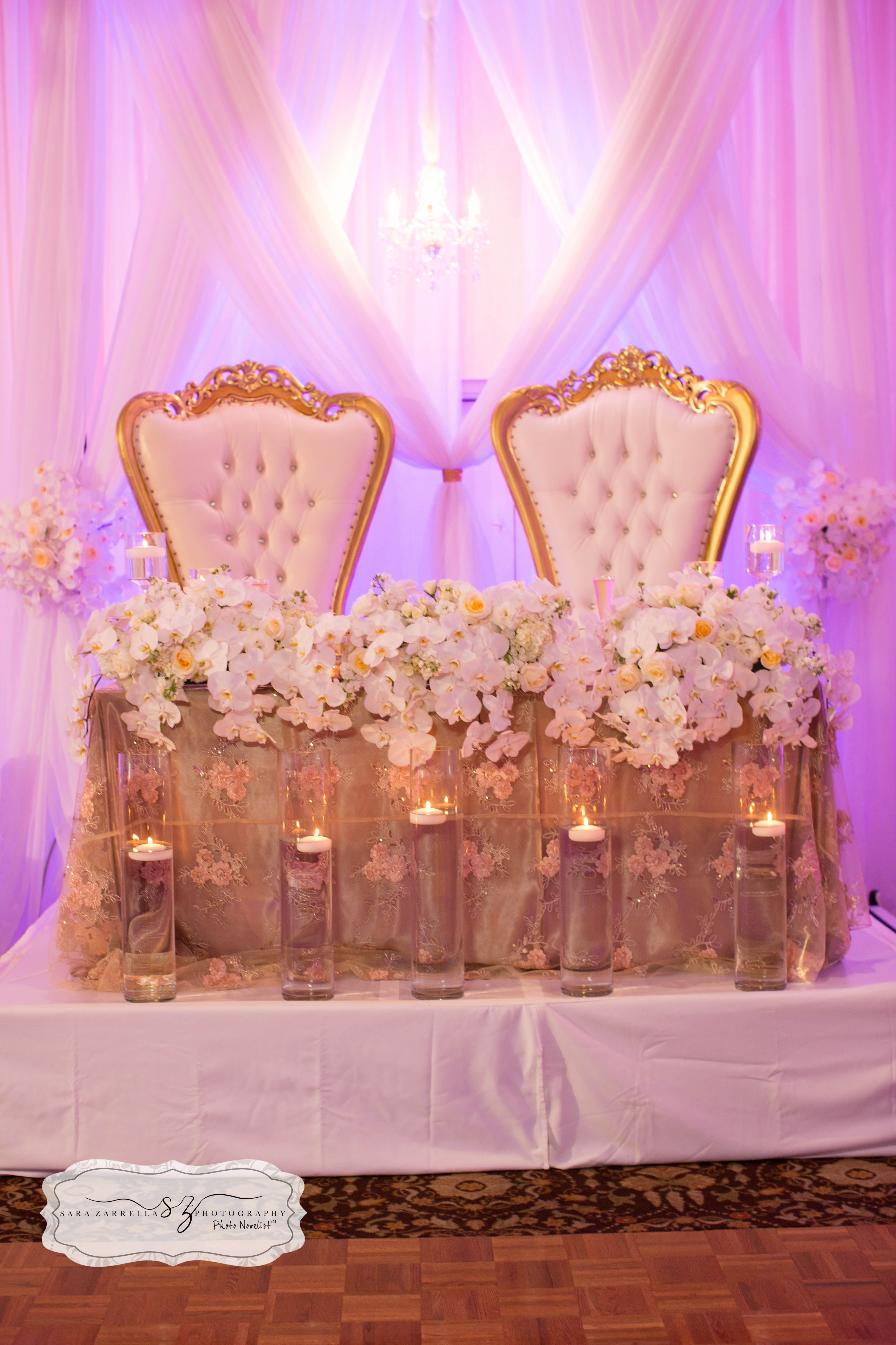 Sweetheart table with our King and Queen chairs #romance # ...