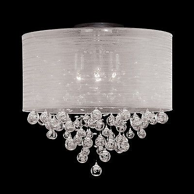 New 4 Lamp Drum Shade Flush Mount Crystal Tear Bubble Ball Ceiling