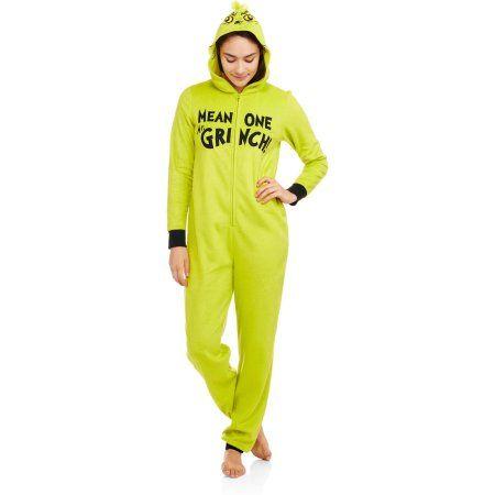 Grinch Women's Licensed Sleepwear Adult Onesie Costume Union Suit ...