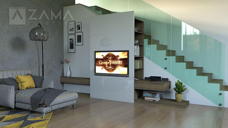 Odľahčený obývačkový nábytok pod schodisko