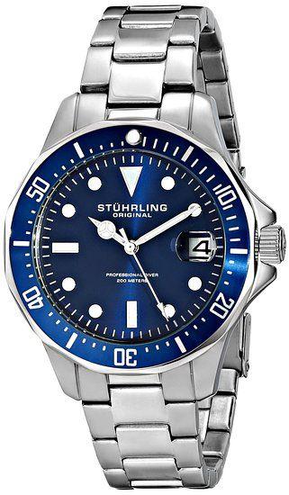Stuhrling Original Men's 664.02 Aquadiver Quartz Blue Dial Date Diver Watch for $47.99