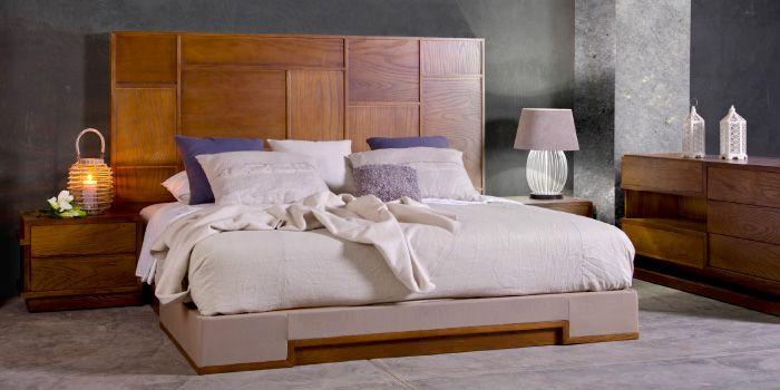 recamara elaborada en madera de encino cabecera estilo