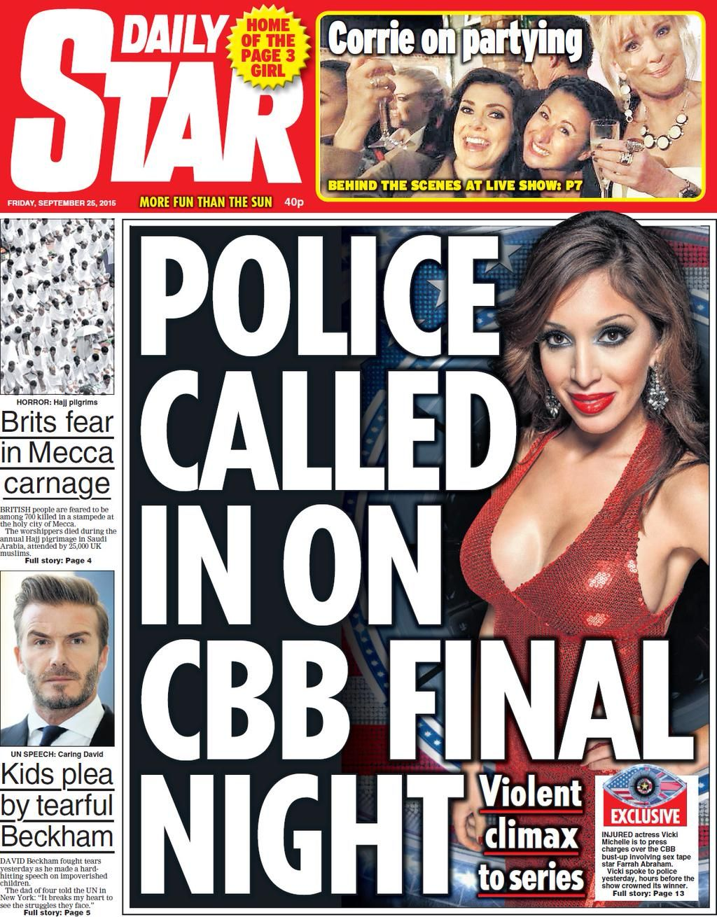 Nick Sutton on Daily star, Police call