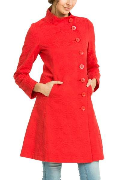 A coat that will joyfully take you into the next season. It's red with raised daisy patterned jacquard. The A line cut and marked seams will highlight your figure. Don't miss out!