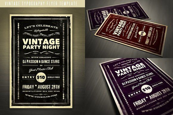 Vintage Typography Flyer By Jumbodesign On Creativemarket