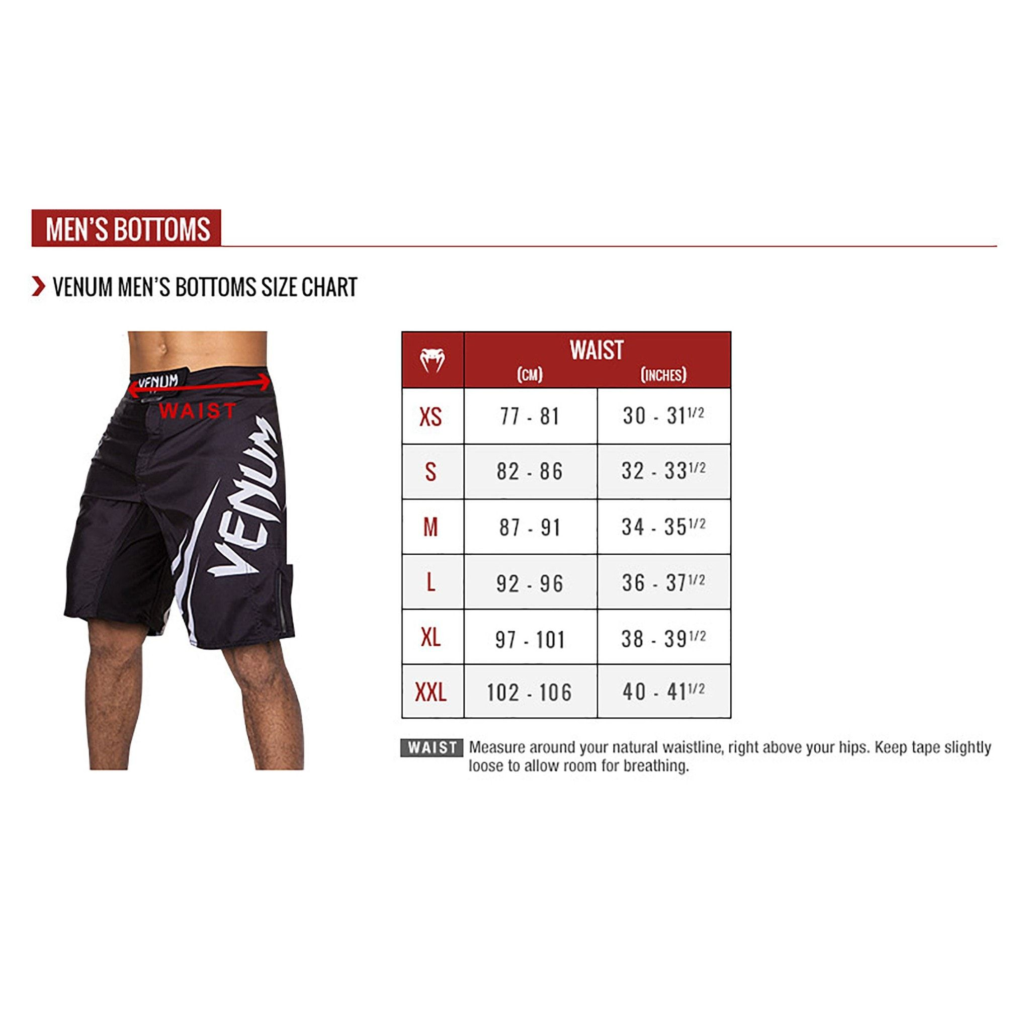 Size chart for venum fight shorts combosports also rh pinterest