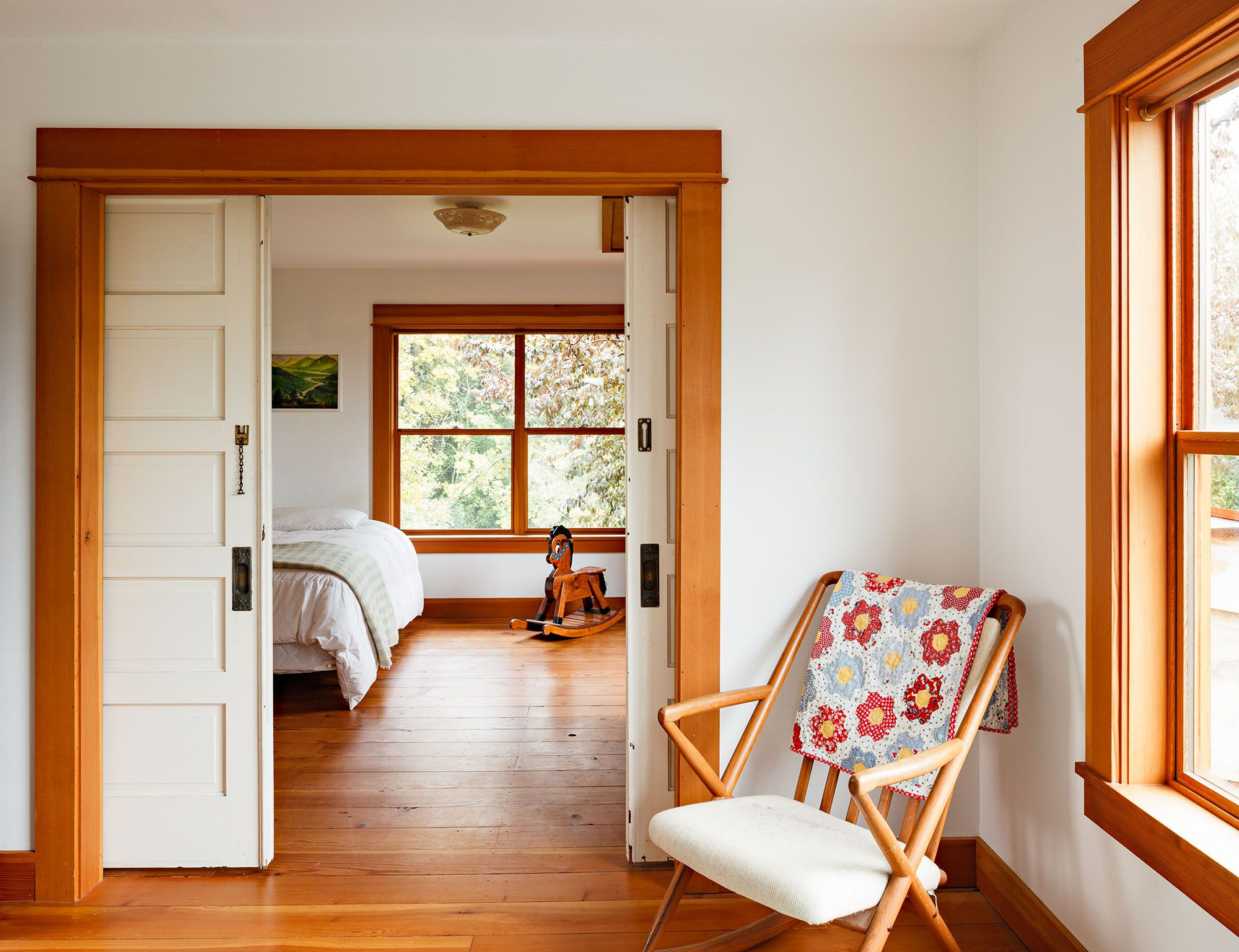 White interior doors with wood trim - Just Embrace The Orangish Wood Tone Of The Trim Stain The Floors To Match Interior Doorsinterior Ideaswhite