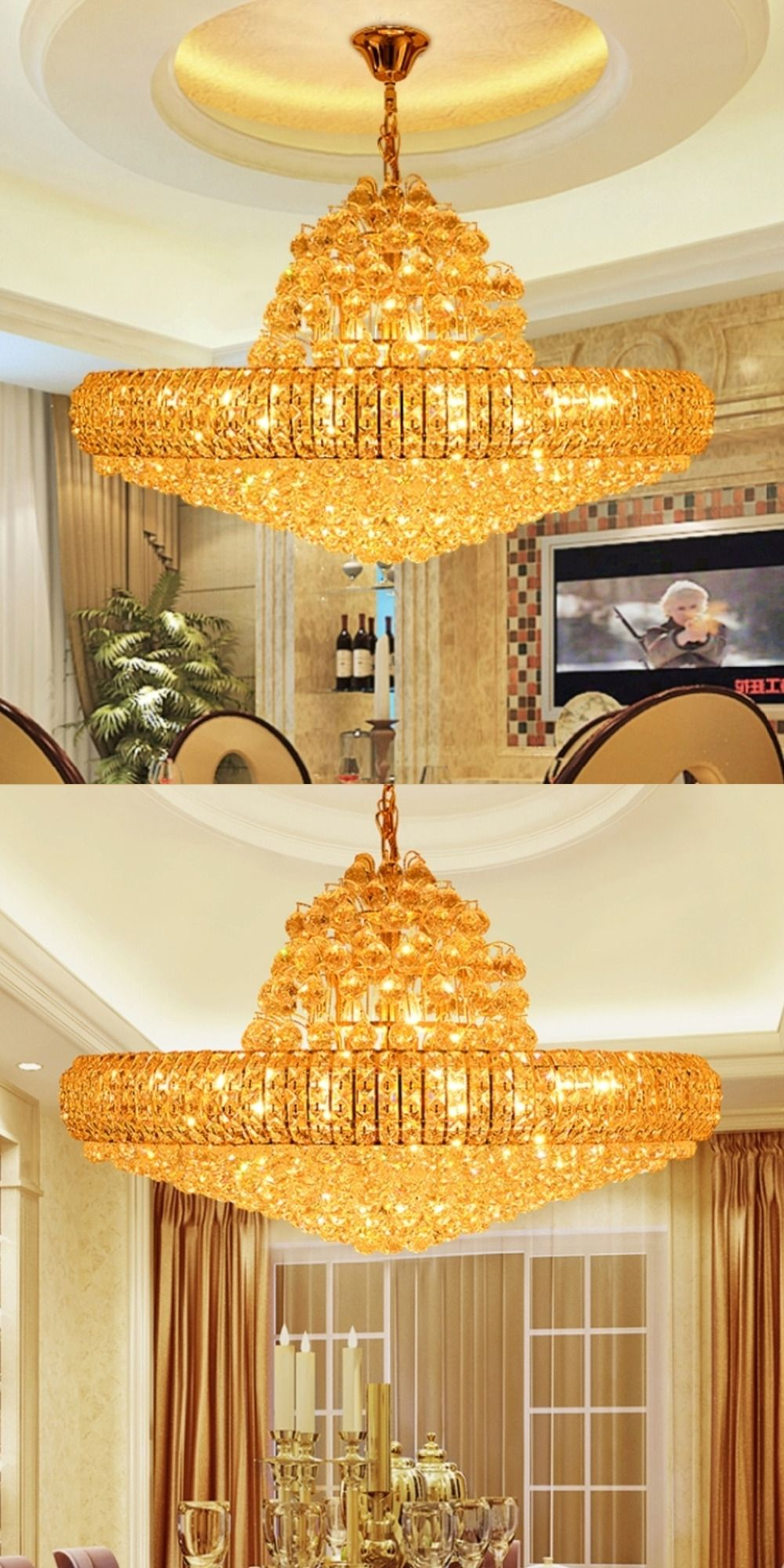 Led Modern Golden K9 Crystal Chandelier Big Round Gold Chandeliers Lights Fixture Hotel Club