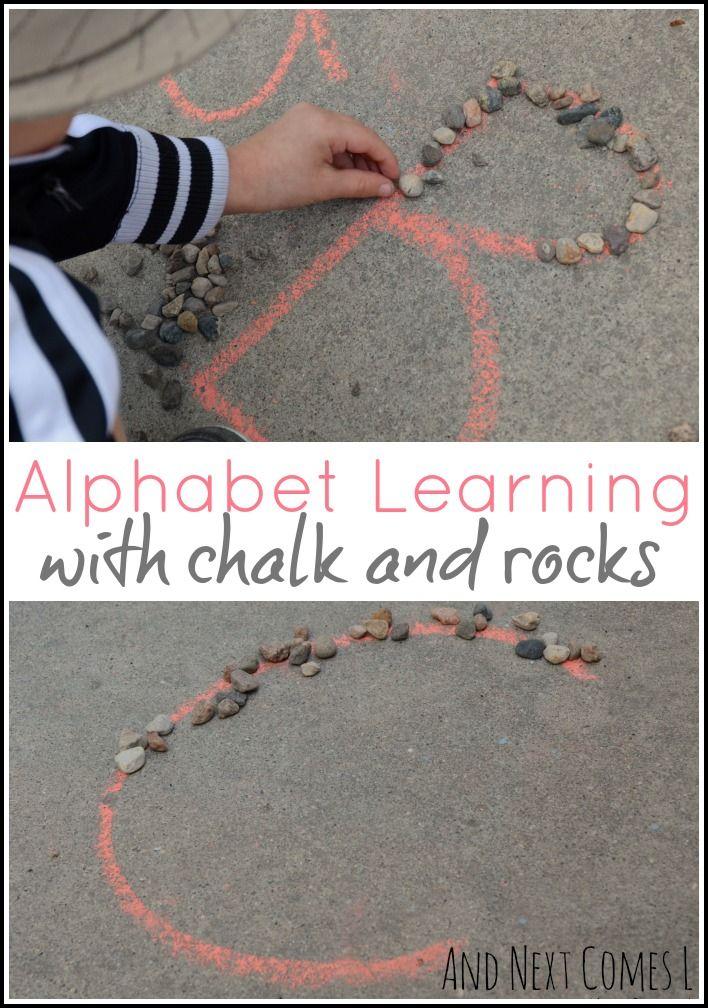 alphabet learning with chalk  u0026 rocks