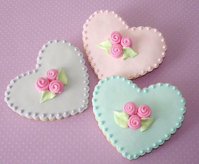 Rose Heart cookies | Fondant & şeker hamuru | Pinterest | Kekse ...