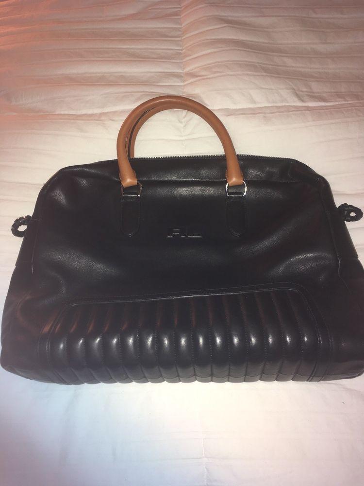 3b0c626939ea Rare! Ralph Lauren QUILTED CALFSKIN BRIEFCASE Leather Mens Bag Black ...
