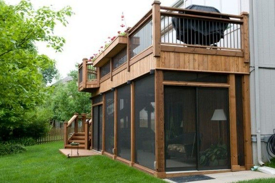 Best Second Floor Deck With Screened In Porch Design And Stairs 640 x 480