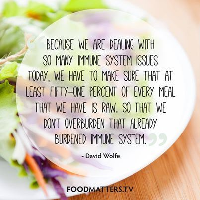 """Because We Are Dealing With So May Immune System Issues Today, We Have To Make Sure That At Least Fifty-One Percent Of Every Meal We Have Is Raw. So That We Don't Overburden That Already Burdened System"" - David Wolfe"