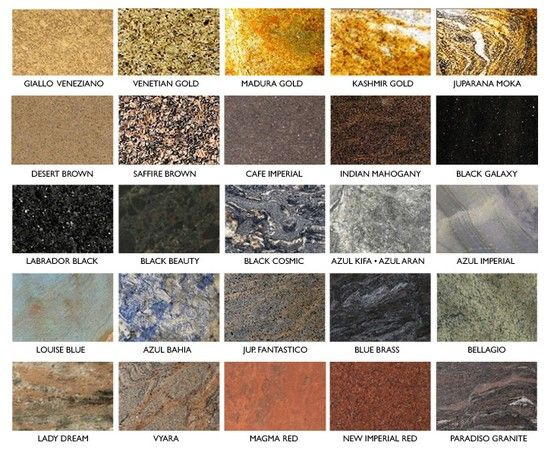 Granite Samples And Names Tile And Stone In 2019 Granite Marble