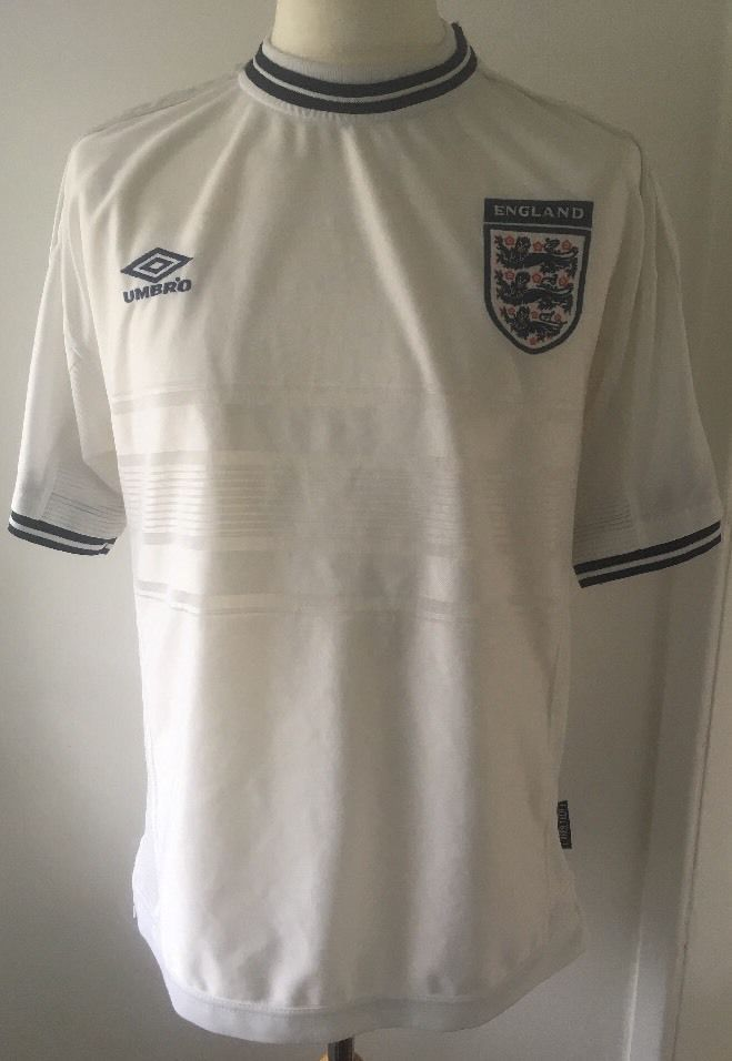 England 1999 2001 Vintage Football Shirt Large Umbro Home White Ebay Vintage Football Shirts Football Shirts Long Sleeve Tshirt Men