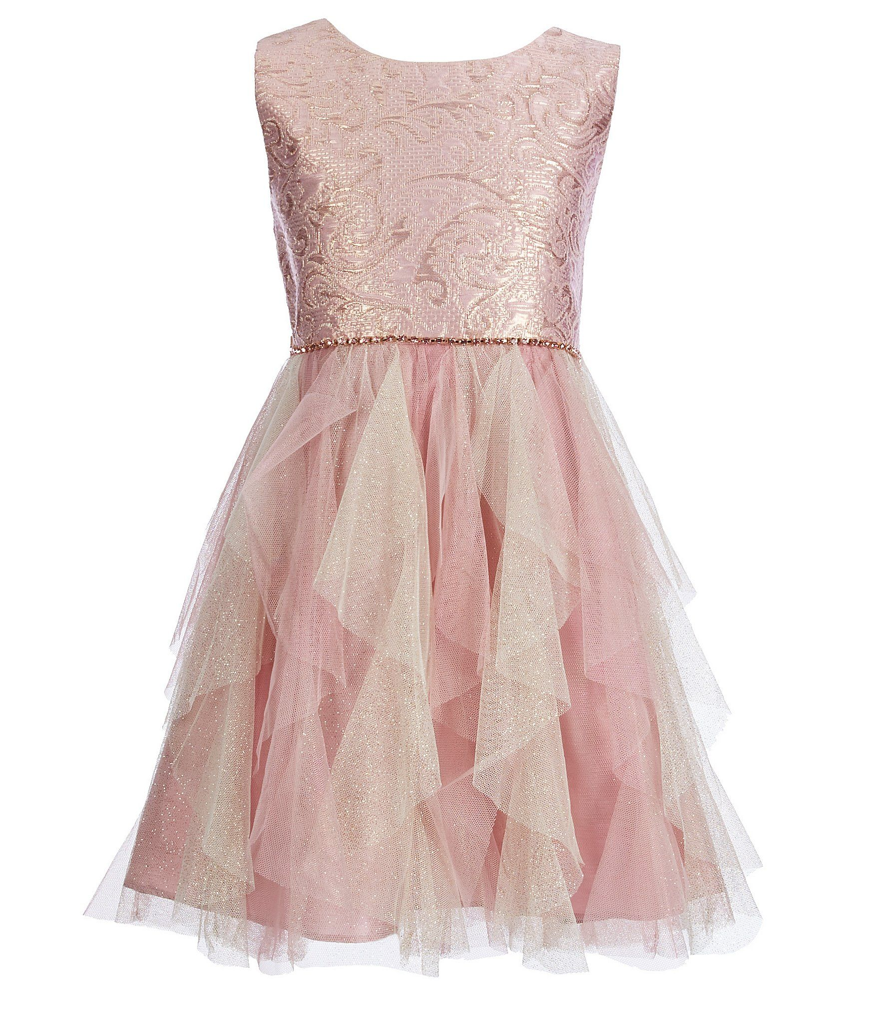 Rare Editions Big Girls 7-16 Brocade/Cascading Ruffle Fit-And-Flare ...