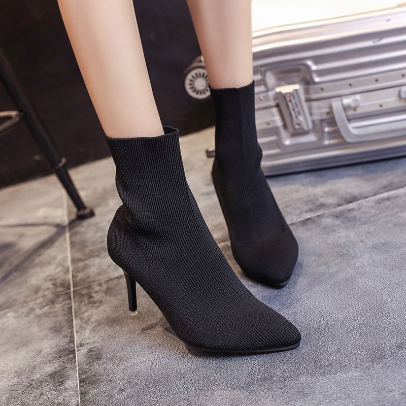 Tide Fashion Brand Autumn And Winter Women High Heeled Boots Female Solid Color Warm Short Boots Boots Womens Fashion Shoes High Heel Shoes