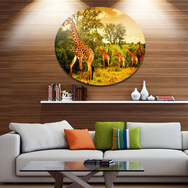 Design Art South African Giraffes African Metal Circle Wall Art