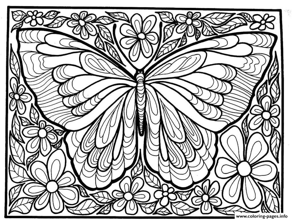 Print Adult Difficult Big Butterfly Coloring Pages
