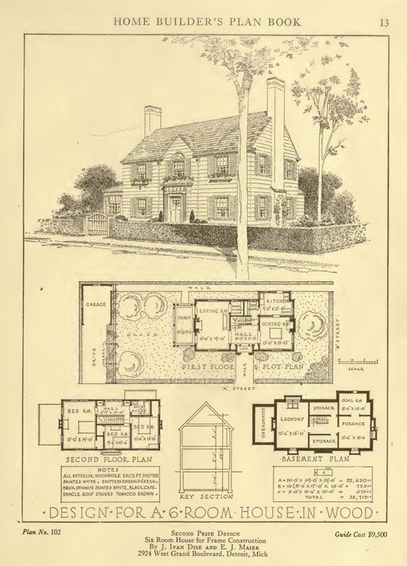 1921 Home Builders Plan Book With 50 American Small House Architecture Designs And Plans Printable 8 Vintage House Plans Floor Plans Small House Design