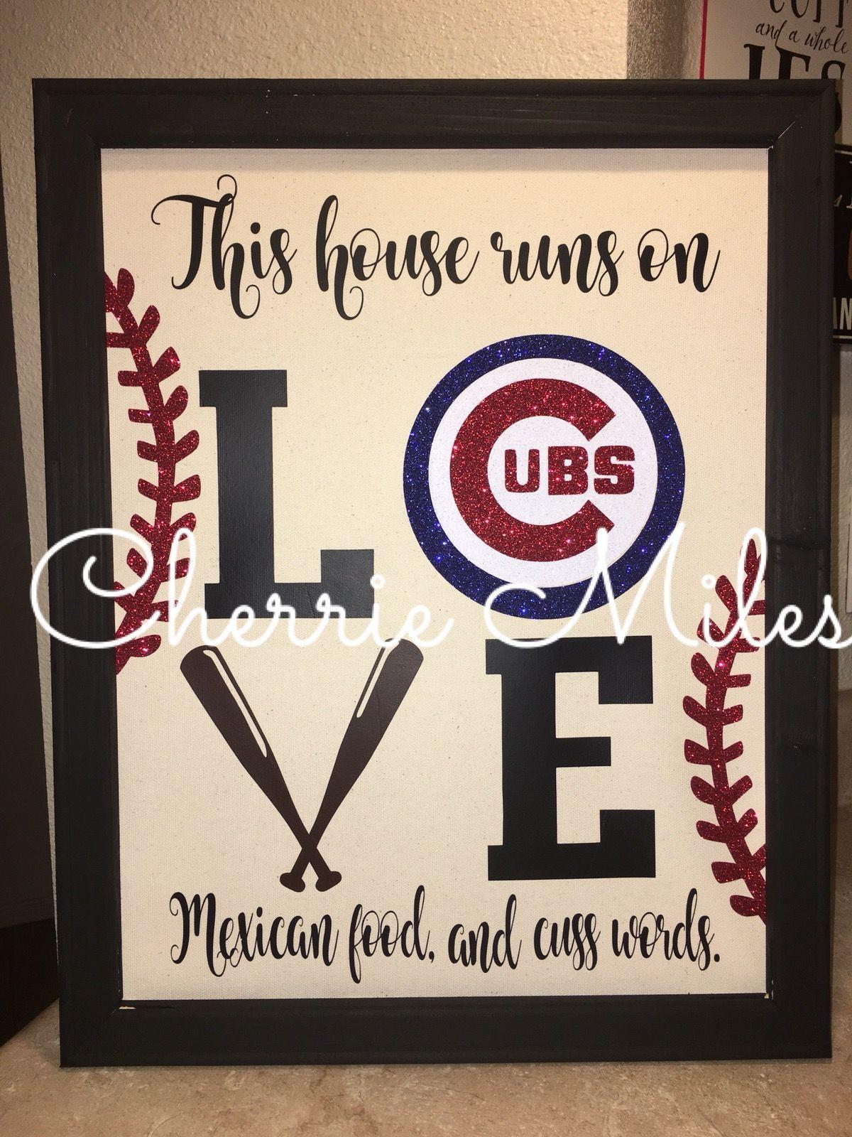 Cubs baseball reverse canvas... HTV vinyl. | canvas | Pinterest