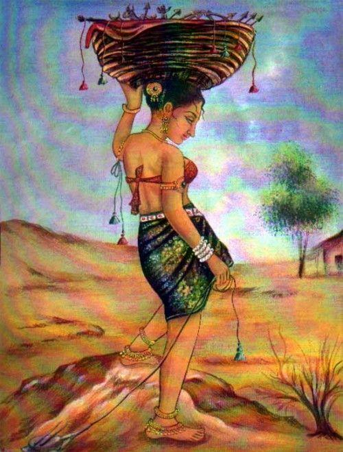 Indian Art Paintings Rajasthani Village Girl