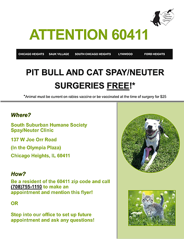 South Suburban Humane Society | Low-Cost Spay/Neuter Clinic