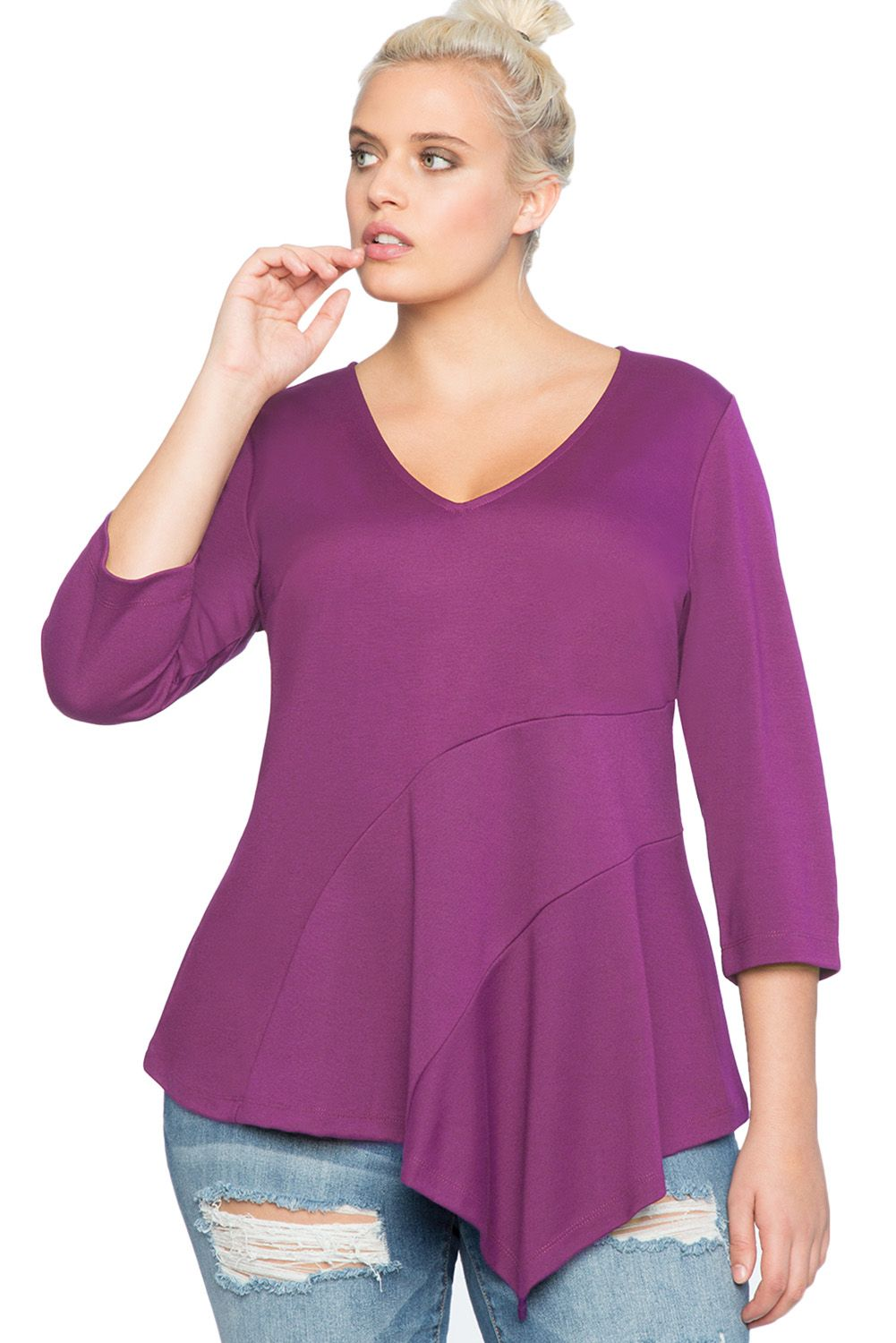 4913eba57a6e0 Purple Asymmetric Flounce Plus Size Peplum Top in 2019