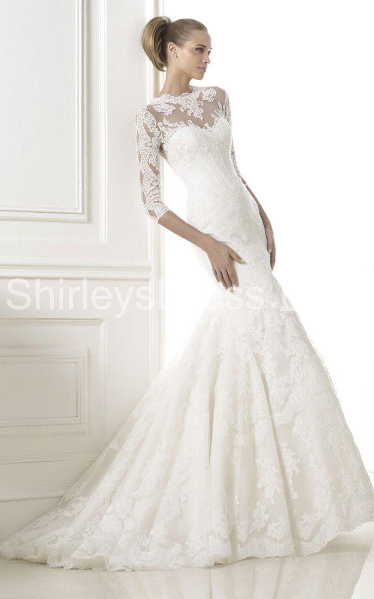 Classic sleeve laceappliqued mermaid wedding dress wedding