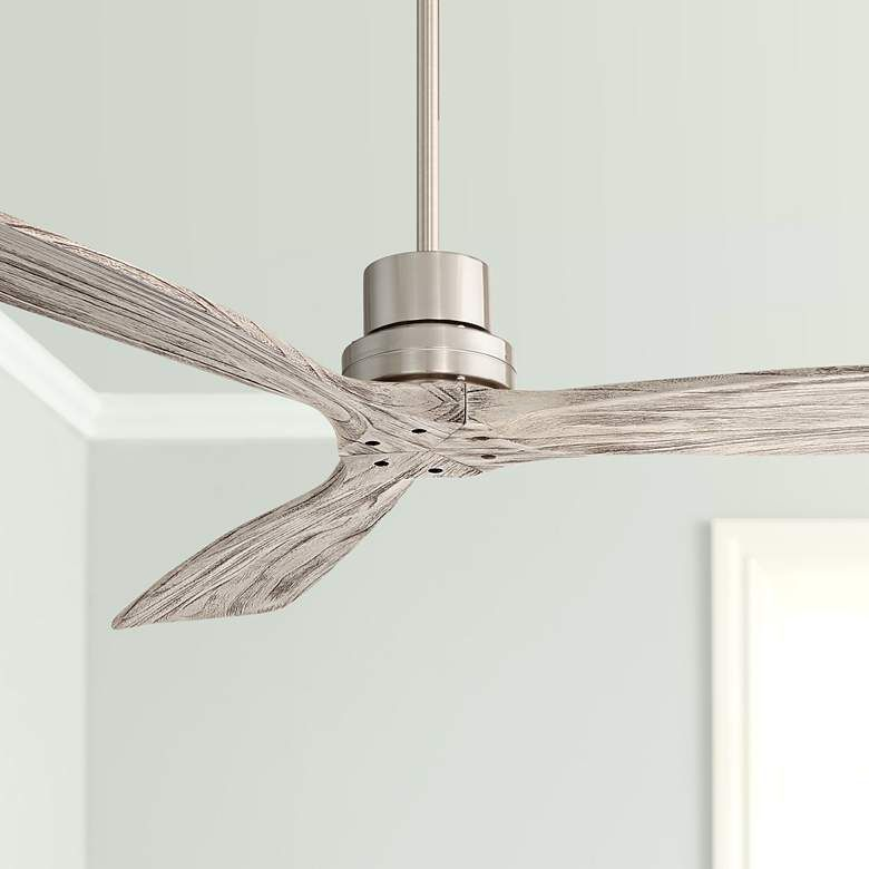 52 Casa Delta Wing Brushed Nickel And Gray Ceiling Fan 64r49