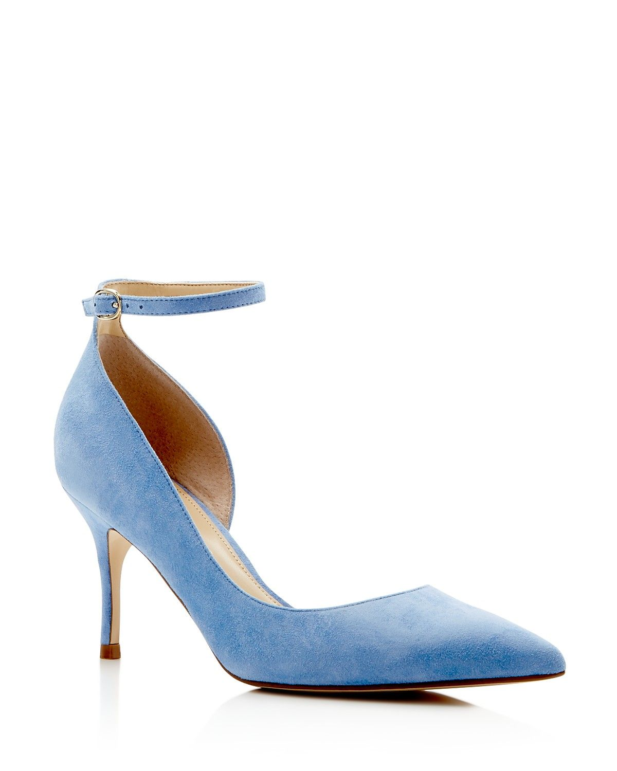 81414d9272c IVANKA TRUMP Brita Suede Pointed Toe Ankle Strap Pumps