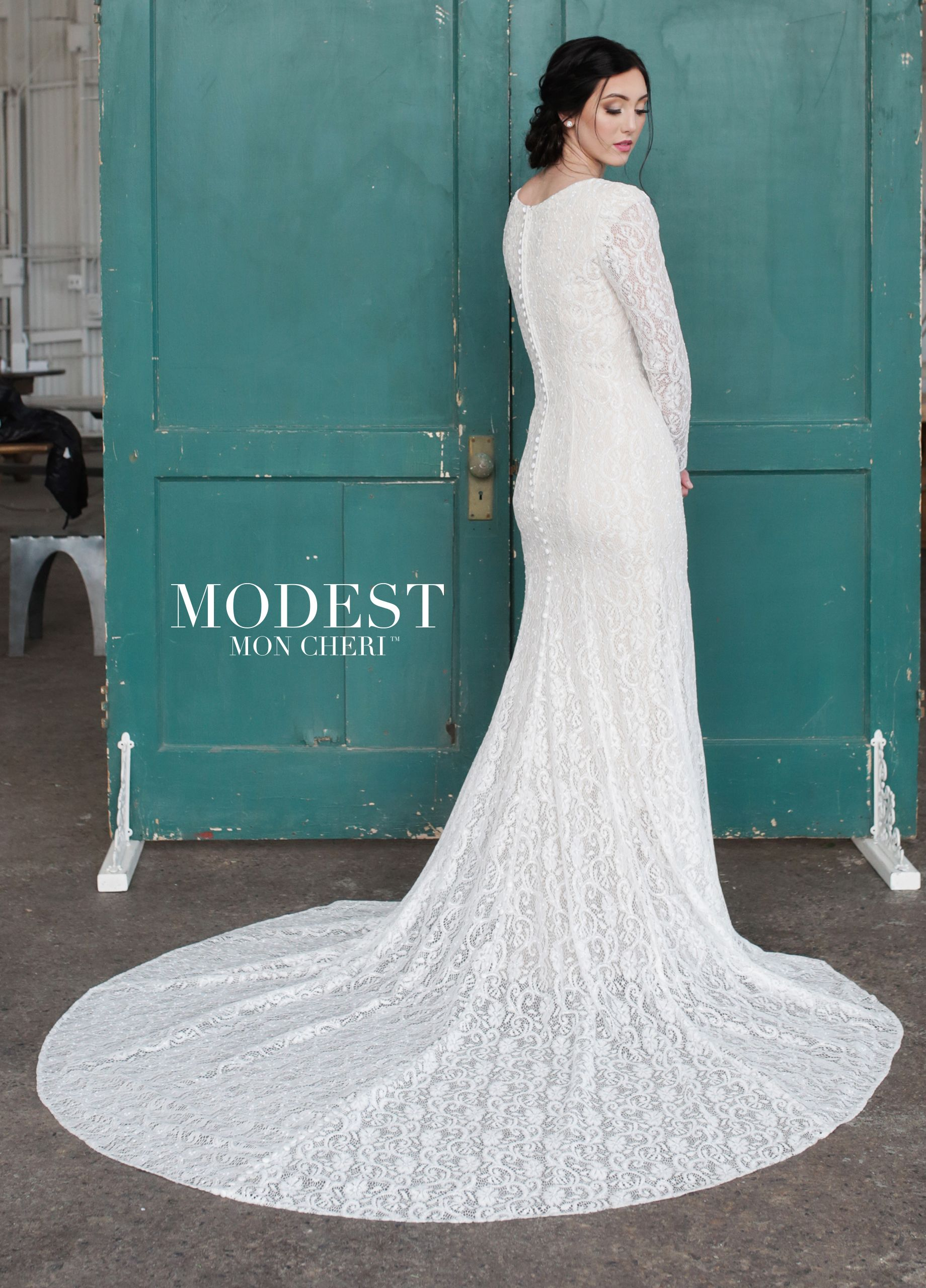 Conservative Long Sleeve All Lace with a Scoop Neckline Wedding ...