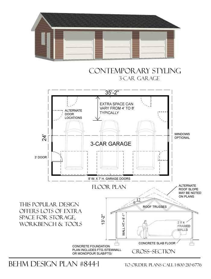 3 Car Basic Garage Plan 844 1 35 2 X 24 Garage Plans 3 Car Garage Plans Garage Design