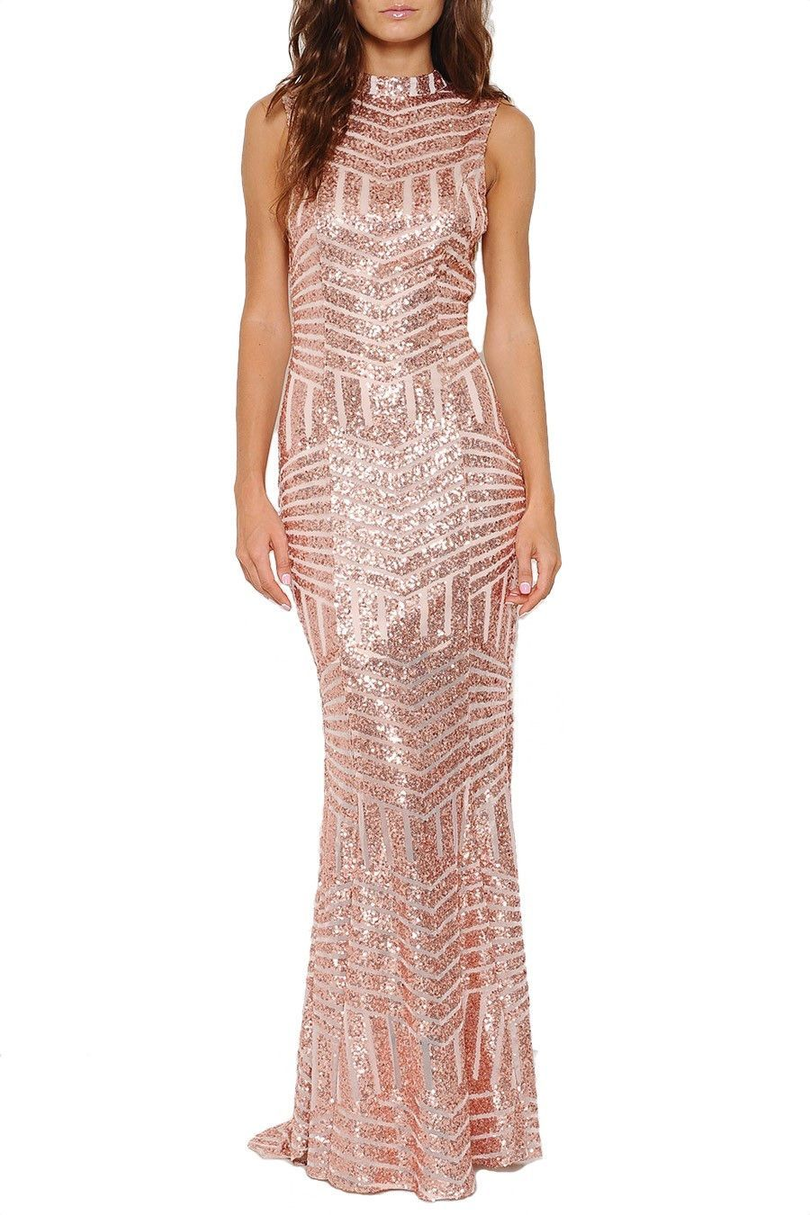 Leading lady open back sequin maxi dress rose gold restock arrives