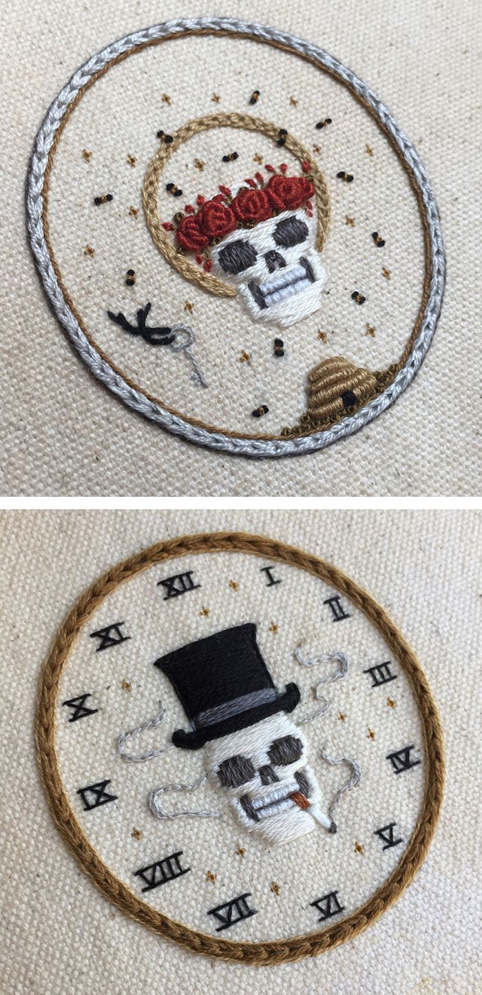 Skeleton Embroideries by Tinycup Needleworks