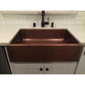 Sinkology Adams Farmhouse Apron Front Handmade Pure Solid Copper