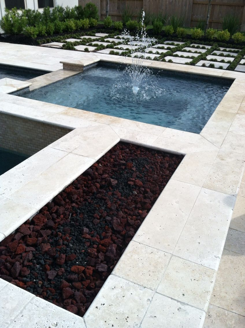 Pool - fire pit, fountain in hot tub, ground cover between giant pavers for decking (With images ...