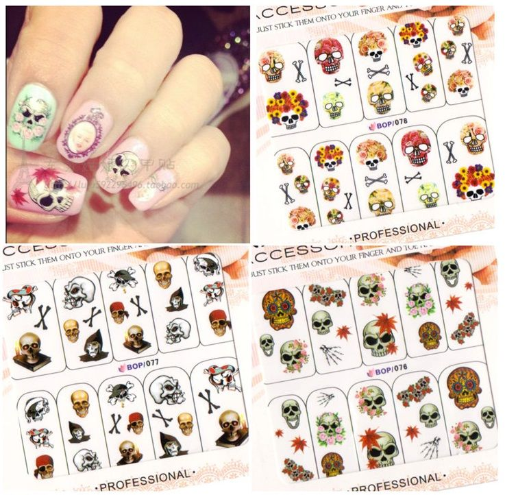 BOP076-77-78-79 Diy nail art stickers Halloween 3D water transfer decal
