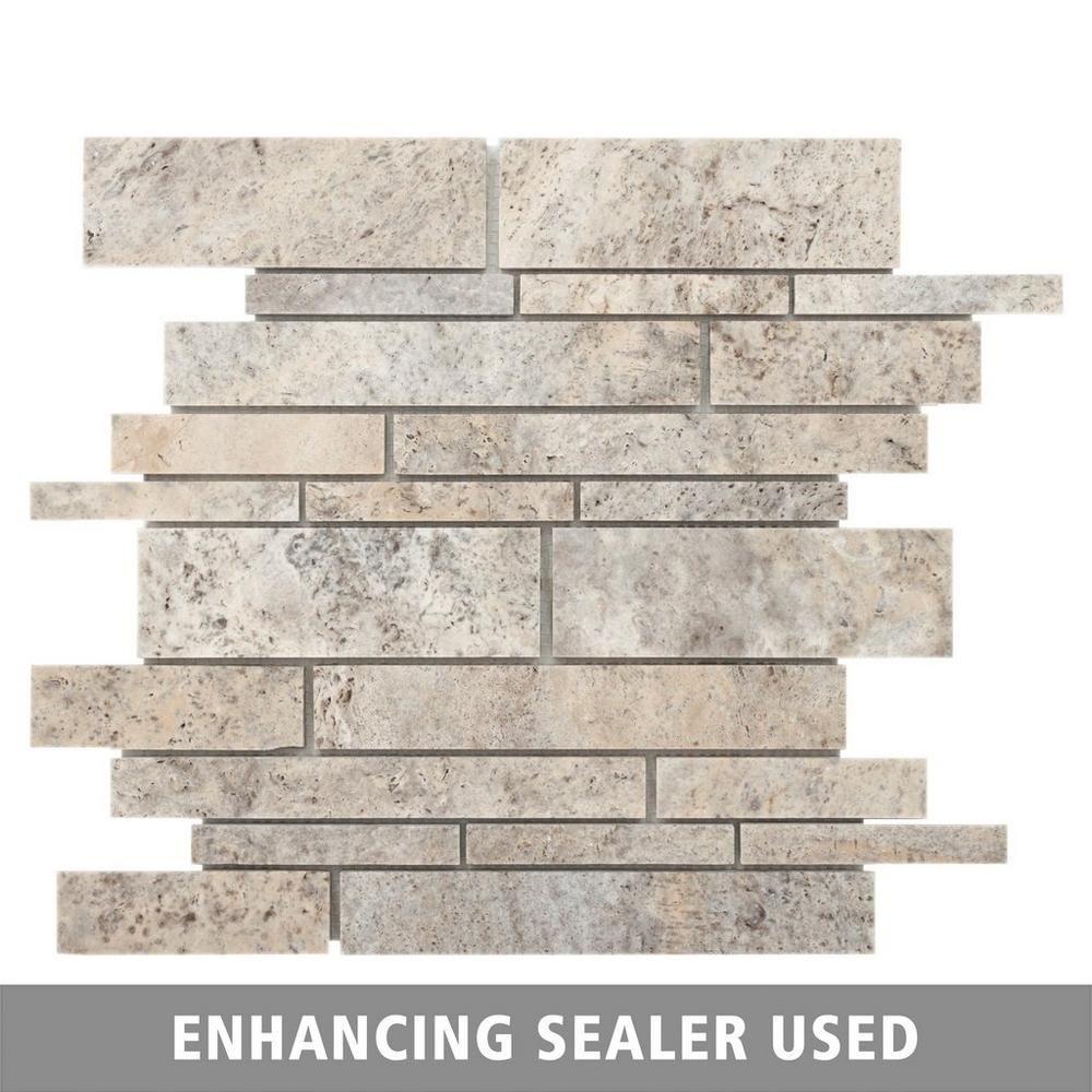 Pewter Brushed Stick Travertine Mosaic Floor Decor Travertine Marble Mosaic Decorative Backsplash