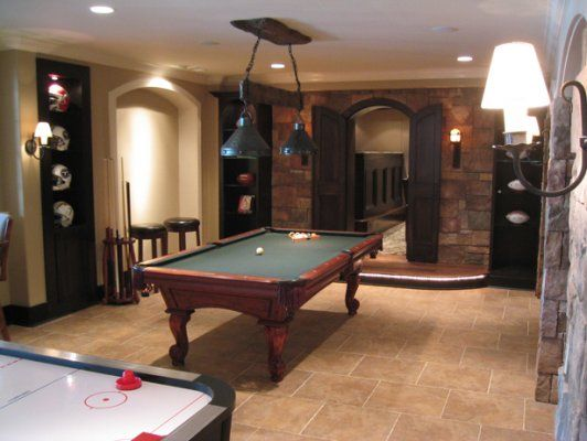 Wood Doors With Stone Game Room Pool Table Game Room Family