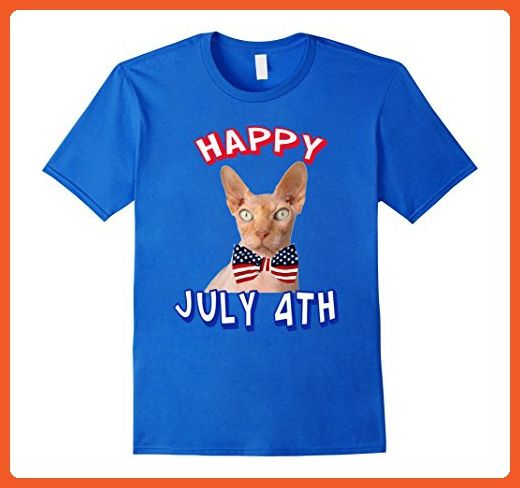 Mens Happy July 4th.  Independence Day T-shirt Sphynx Cats Bowtie Medium Royal Blue - Holiday and seasonal shirts (*Partner-Link)