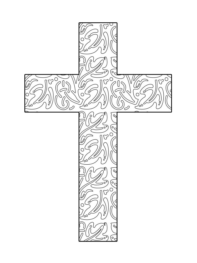 Printable coloring pages religious items - Abstract Leaves Printable Cross Coloring Page