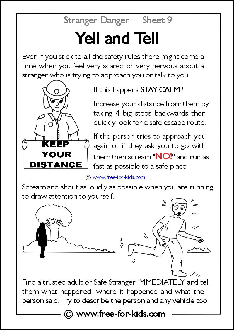 Yell and Tell. 13 FREE printables about Stranger Danger ...