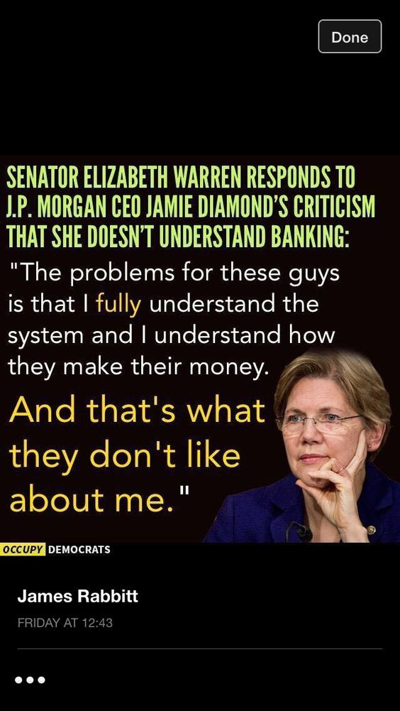 Image result for ELIZABETH WARREN the problem for these bankers is that i fully understand the system