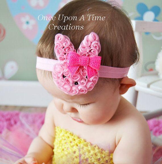 Hot Pink Shabby Bunny Rabbit Newborn Headband Baby Girl HairBow Easter  Bow