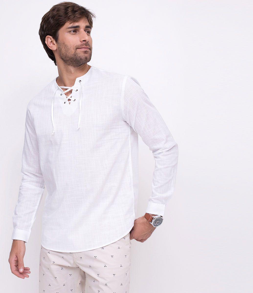 18e0ac9131 Camisa masculina Manga longa Gola padre Com amarração Marca  Marfinno  Tecido  Voal Composição