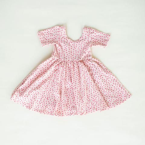 be8b4b623 SHORT SLEEVED BALLET DRESS IN CORAL DOT